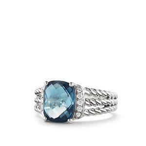 Petit Wheaton Ring w/ Hampton BlueTopaz & Diamonds